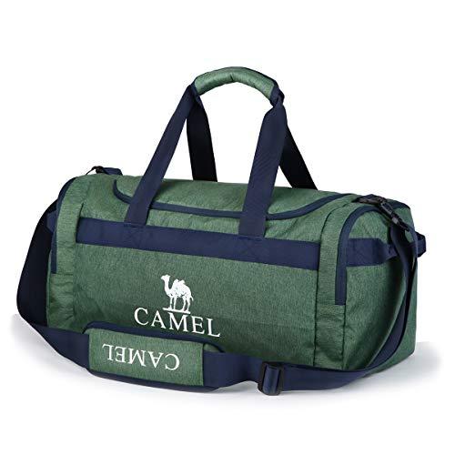 CAMEL CROWN Sporttasche 35L Reisetasche Praktische Sport-Tasche mit vielen Fächern Schultergurt Tragegurt Zweiwege-Reißverschluss Duffel Bag für Fitness Sport und Reise Damen Herren (Ink.Mini-Beutel)