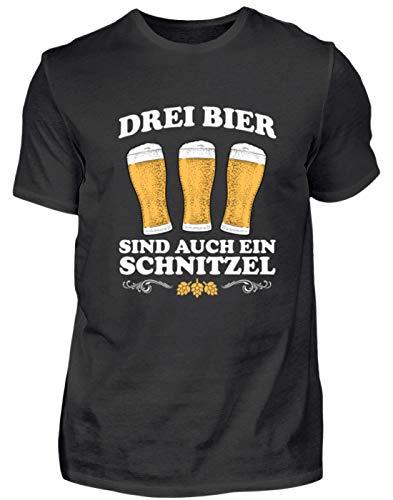 DREI Bier sind EIN auch Schnitzel lustig Bier Bierkrug Geschenk für Saufer - Herren Shirt -M-Schwarz
