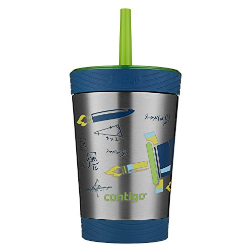 Contigo Stainless Steel Spill Proof Kids Tumbler with Straw, 12 oz, Granny Smith with Rocket Design,2030574