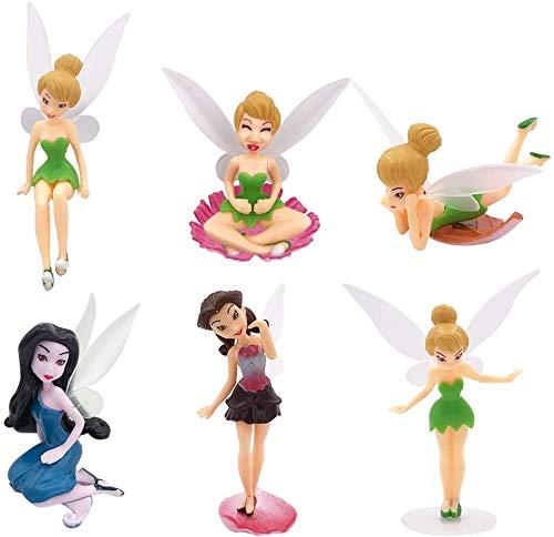 JPYH Miniature Fairy Figurines, 6 Pcs/set of cute mini garden accessories,Micro landscape DIY statue,Used for family birthday cake decoration,Flower Fairy Girls Dollhouse Garden Ornament Accessories