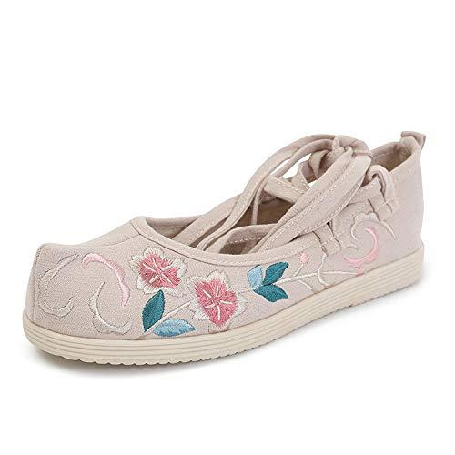 Tluhepa Zapatos Pisos Viejo Beijing Zapatos de Tela Zapatos Bordados Alicia arquean los Zapatos Hanfu Ropa Arte de té Silvestre (Color : Beige, Size : 5.5)
