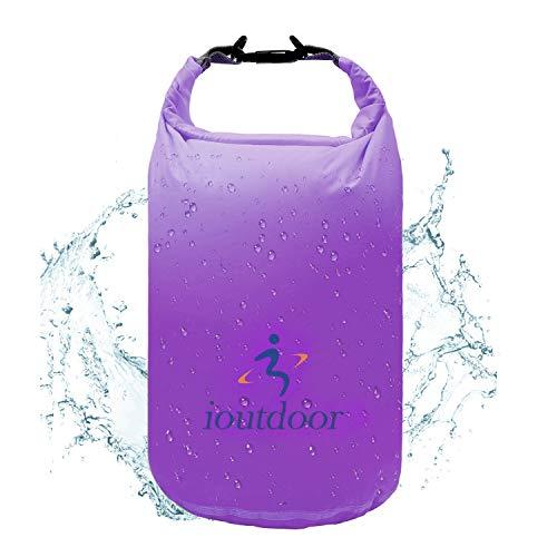 Wasserdichter Trockentasche, ultraleicht, 2 l, 10 l, 40 l, hält die Ausrüstung trocken sauber, klein und groß für Kajakfahren, Wandern, Schwimmen, Camping, Segeln, Bootfahren, Angeln (lila, 10 l)