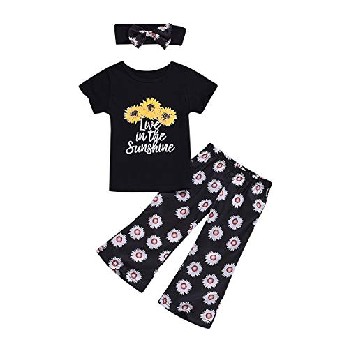Borlai zomer-T-shirt broekhoofdband De zonnebloemenprint van de baby 3 stuks wettelijk madeliefje 4~5 Jahre zwart