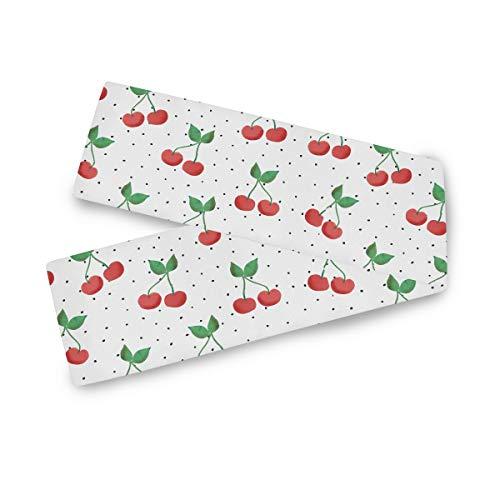TropicalLife F17 - Camino de mesa rectangular con estampado de frutas de cerezo, 33 x 177 cm, poliéster, decoración para bodas, cocina, fiestas, banquetes, comedores, mesas de centro