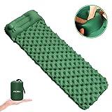FOCHEA Isomatte Camping, Selbstaufblasbare Isomatte Handpresse Aufblasbare Luftmatratze Schlafmatte für Camping, Reise, Outdoor, Wandern, Strand(Grün)