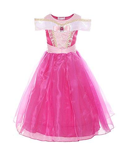 ReliBeauty Mädchen Kleider Brosche Dornröschen Aurora Prinzessin Kleid Drop Shoulder Cosplay Kostüme, Pink, 122-128(Etikett 120)