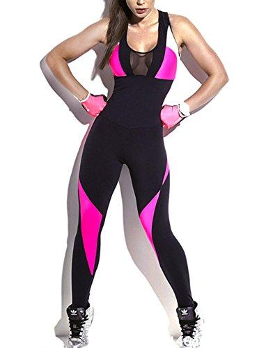 SEASUM Women Yoga Bodysuit Sleevesless Sport One-Piece Backless Sexy Bodycon Rompers Jumpsuit M