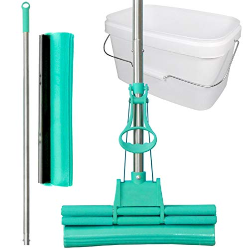 Green Mop Set 30-02 - Green Mop 30 cm + steel + spons + 10 liter emmer in het wit - Dubbele wringer mop absorberende wismop PVA vloerwisser