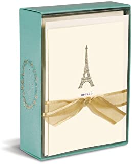 Graphique Eiffel Tower La Petite Presse Notecards, 10 Durable Embossed and Embellished Gold Foil