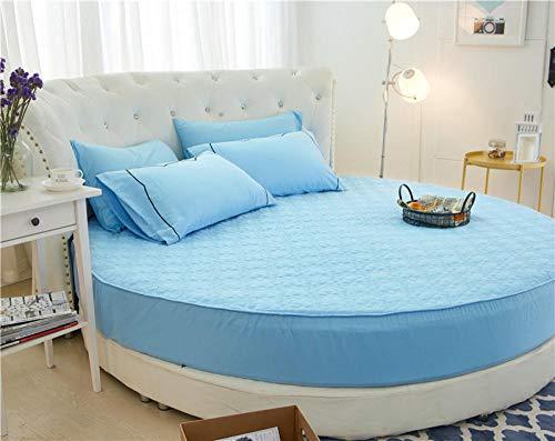 HPPSLT Protector de colchón/Cubre colchón Acolchado de Fibra antiácaros, Transpirable, Cama Redonda de algodón Color Liso Engrosamiento-Azul Cielo 1_2m