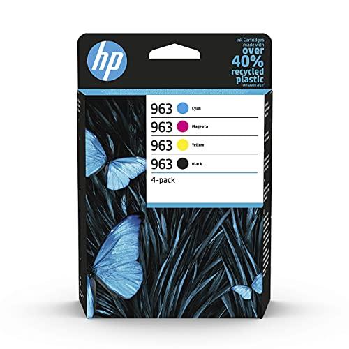 HP 963 6ZC70AE, Negro, Cian, Magenta y Amarillo, Cartuchos de Tinta Originales, Pack de 4, para impresoras HP OfficeJet Pro Serie 9000 All-in-One