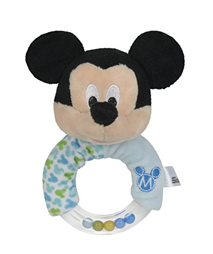 Simba 6315874803 - Disney - Mickey Maus, Ring Rassel mit Plüsch, 14 cm, blau