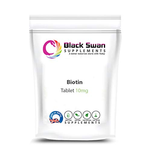 Black Swan Biotin 10mg Tablets – Supports Healthy Metabolism and Healthy Hair-Skin-Nails - UK Made (30 tabs)