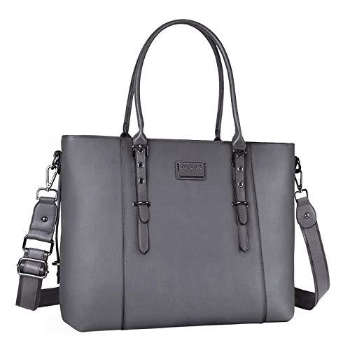 MOSISO Laptop Einkaufstasche (bis zu 17,3 Zoll), Wasserfeste PU Leder Tote Aktentasche Handtasche Kompatibel mit MacBook & Notebook Große Kapazität mit Gepolstertes Fach, Grau