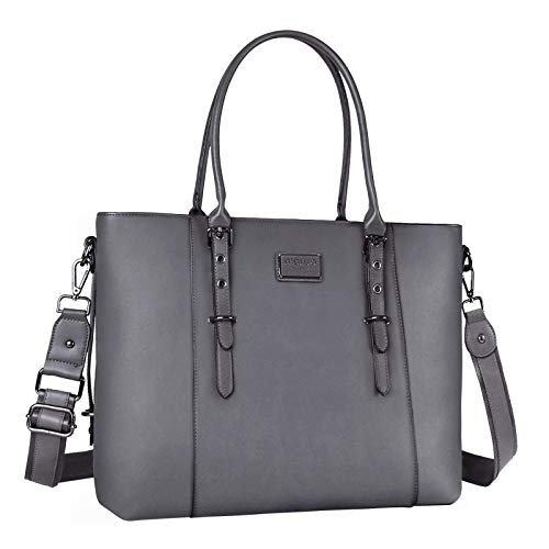 MOSISO Laptop Tote Bag (Up to 13.3 Inch), Water Resistant PU Leather Shoulder Briefcase Handbag Compatible with MacBook & Notebook Large Capacity with Padded Compartment, Gray