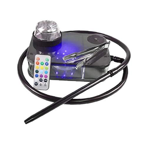 LjzlSxMF Huka Kit, bewegliche Farben-Kasten Wasserpfeife, komplett Räucher-Sets mit Fernbedienung LED-Licht-Box