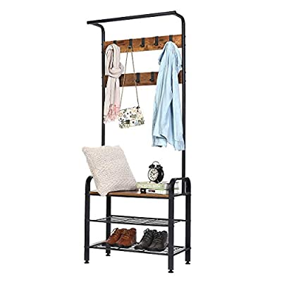 KINGSO Coat Rack Shoe Bench , Hall Tree with Shoe Storage for Entryway , Industrial Accent Furniture with Metal Frame, 3… - 👕 【Perfect Design】--The KingSo hall tree with shoe storage will help you keep your entrance tidy. After coming back home at the end of the day, hang your coat, hat, and bags on the top hooks; sit on the bench to remove your shoes, and place them on two metal wire racks. 👕 【Safety & Stability】--The coat and shoe rack entryway has 4 adjustable feet and can stand steadily on carpets or uneven floors without worrying about it toppling over. This hall tree made of high quality material, which makes it more durable. 👕 【Sturdy Construction】-- It provides a strong and sturdy bench for adult to sit on, holds up to 176 lbs. High load capacity of up to 6.6 lb per hook. You can storage coats, jackets, scarves, hats, dog leashes, umbrellas, bags, backpacks, purses, storage bins, and more. - hall-trees, entryway-furniture-decor, entryway-laundry-room - 41jIscJtkdL. SS400  -