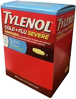 Best Tylenol Cold Flu Severe 50 packs of 2 Caplets in Each pack, Dispenser Pouch Box Review