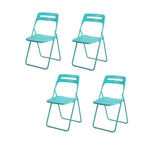 HAHEZDY 4 Stücke Klappstuhl Erwachsene Esszimmerstuhl Student Kunststoff Hocker Hause Stuhl, Tiffany Blau
