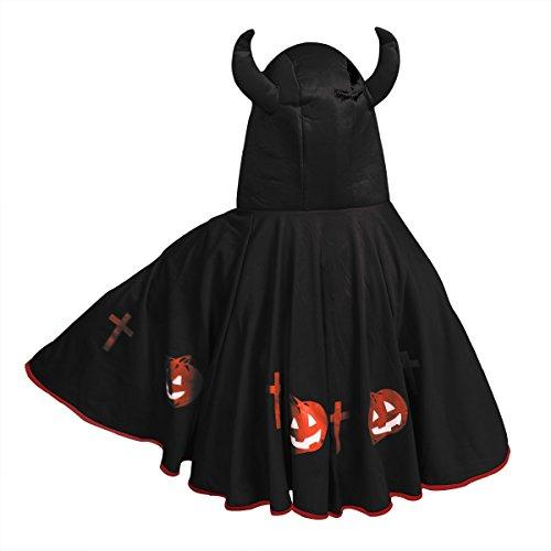 Duivelkostuum voor kinderen, voor Halloween of cosplay, met hoorns en omhang zwart