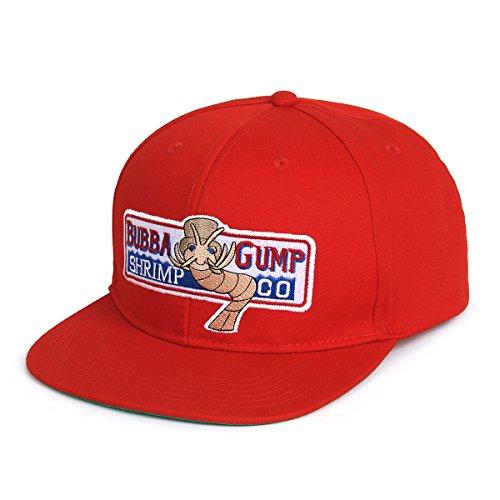 Nofonda Unisex Forrest Gump Cap, Flach-Rand Baseballmütze mit Besticktem Bubba Gump Shrimp Co. Logo, Snapback Hut als Cosplay-Kostüm Zubehör oder Geschenk, für Sport oder Freizeit (Rot)