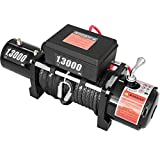 CXRCY 13000 lb Electric Winch Load Capacity 12V Towing Winch Kit with 80ft(24m)Synthetic Rope...
