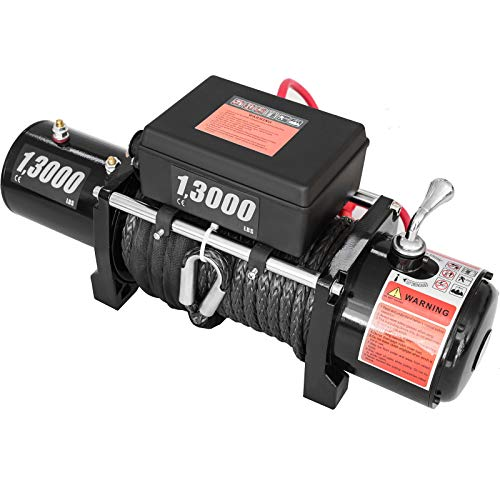 CXRCY 13000 lb Electric Winch Load Capacity 12V Towing Winch Kit with 80ft(24m)Steel Rope Waterproof Off Road Boat Winch for Jeep,Truck,SUV with Wireless Remote and Corded Control