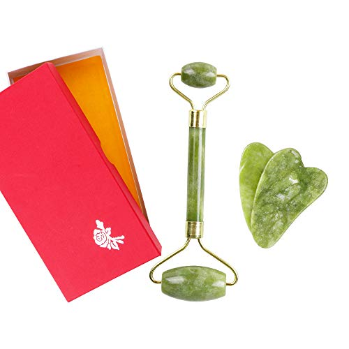 SHAFIRE Jade Roller Face Massager Kits with 2Pcs Gua Sha Tools for Face, Eye, Neck, Body Massage