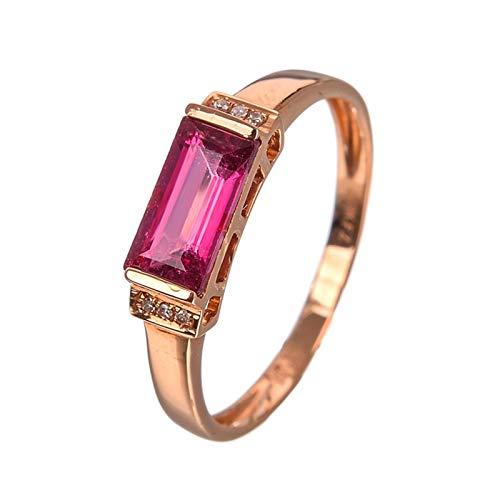 Ubestlove Schmuck Damenring Rosegold Rechteckig Damenring Mit Steinen Turmaline Ringe Größe 63