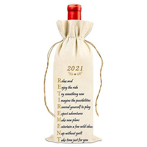 FaCraft Retirement Gifts for Women 2021,Retirement Gift Wine Bags,Retirement Wine Bottle Gift Bags,Funny 2021 Retirement Gifts for Retired Men Teacher Employees Friend Colleague Retirement