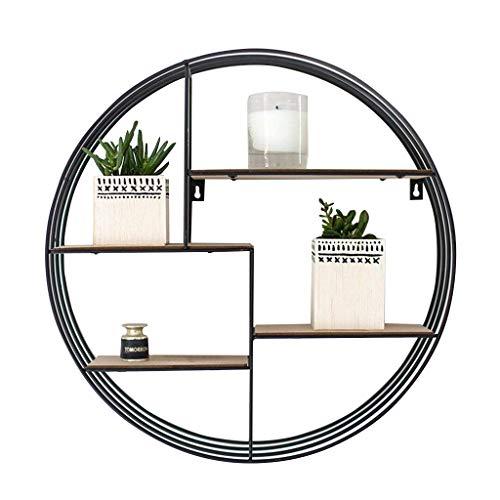 LH-Étagère à cadre Bois rond étagère en métal bois de fer pour salon bar | LOFT Tablette murale pour chambre avec étagère murale | Cadre d'unité flottant comme décoration murale Design Northern Indu