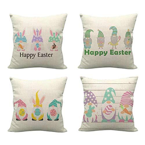 Moent Happy Easter - Funda de almohada (45,7 x 45,7 cm), diseño de gnomo, conejo, huevos, cesta de impresión de lino, funda de cojín para sofá, decoración del hogar, regalo de festival