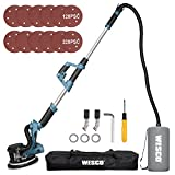 WESCO Drywall Sander, 750W Electric Wall Sander with Dust Hose, Auto Vacuum System, 6 Variable Speed, Extendable Aluminum Handle, LED Light, Dust Collection Bag, 12-Piece Sanding Discs/WS4463KU