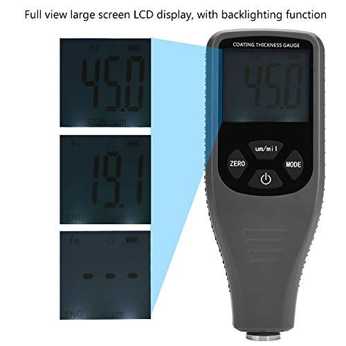 Akozon Schichtdickenmessgerät GM240 Digital LCD Lackdickenmessgerät Tester Metall Auto Test Messung 0~1300um F/N Sonde Tester für Auto Automotive