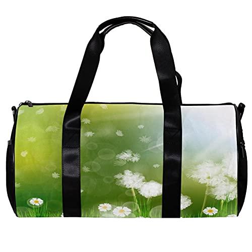 Borsone da palestra rotonda con tracolla staccabile bella verde erba fiore fiore Blowball formazione borsa per la notte borsa per donne e uomini