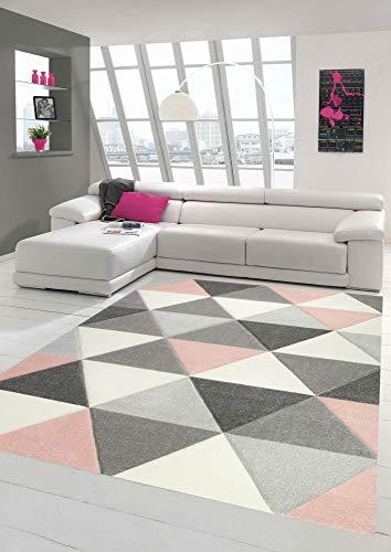 Merinos Alfombra de diseño y Moderna con Estampado Triangular en Crema Gris Rosa Größe 140x200 cm