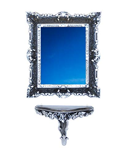 Idea Casa Set Consolle spiegel zwart en zilver fake vintage barok Luigi XVI