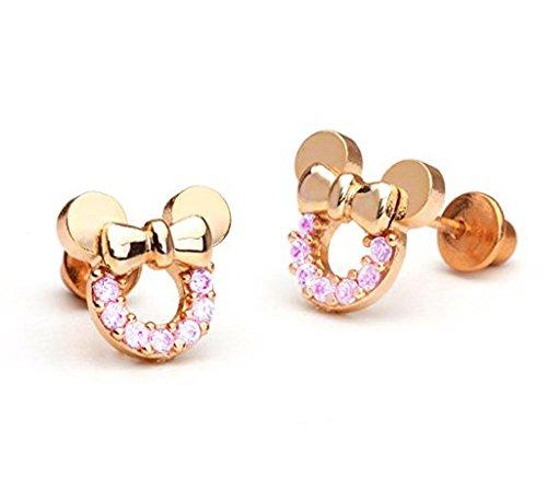 Findout, orecchini di Topolino, cavi, in argento sterling placcato in oro rosa, con zirconi cubici rosa, per donne e ragazze (f1783)