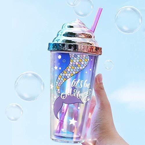 Bicchiere con cannuccia e coperchio, tazza di caffè Ice Mug, doppia parete, riutilizzabile, per succhi di caffè, caffè ghiacciato, tazza per bevande fredde per ragazze e donne