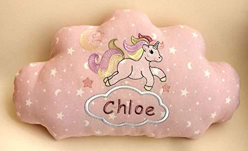Cojín nube unicornio para bebé, bordado a máquina personalizado con su nombre con un original diseño para decoración