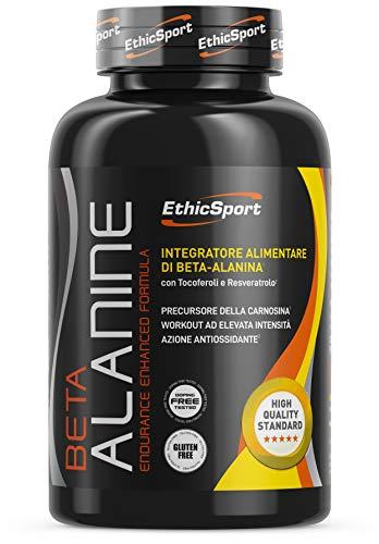 EthicSport - Beta Alanina - Barattolo da 90 cpr x 1500 mg - Integratore alimentare con azione antiossidante per sport ad elevata intensità
