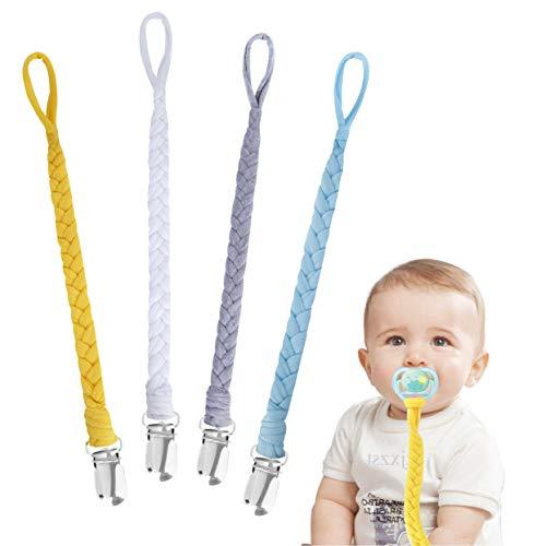 Schnullerkette Baumwolle Schnullerband Baby Schnullerketten für Neugeboren Mädchen und Jungs Lätzchen Dreieckstuch Sauger Schnuller 4 Stücke #8