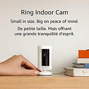 Ring Indoor Cam – compact Plug-In HD security camera with two-way talk, Works with Alexa – White – 1-pack