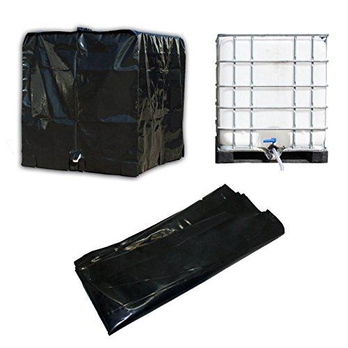 STABILO Sanitaer Abdeckplane Haube Plane Folie Abdeckung für IBC 1000l Tank Container Behälter UV-Folie Regenwassertank Cover, 1200 mm L x 1000 mm B x 1160 mm H