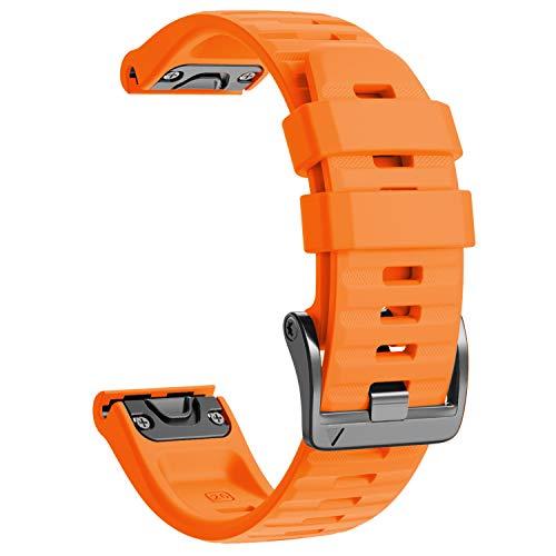 NotoCity Cinturino per Garmin Fenix 6X/Fenix 6X PRO/Fenix 3/Fenix 3 HR/5X/Fenix 5X Plus/, 26mm Cinturino di Ricambio in Silicone, Braccialetto Quick-Fit, Colori Multipli. (Arancione)