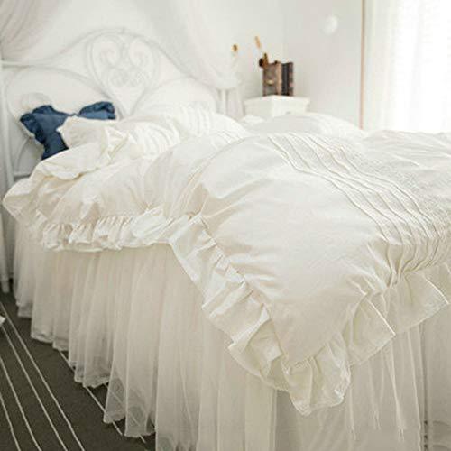 PHGo Rüschen Bettbezug Set Doppel Baumwolle Chic Mädchen Bettwäsche Karte 4 Romantische Spitze Design Bett Rock