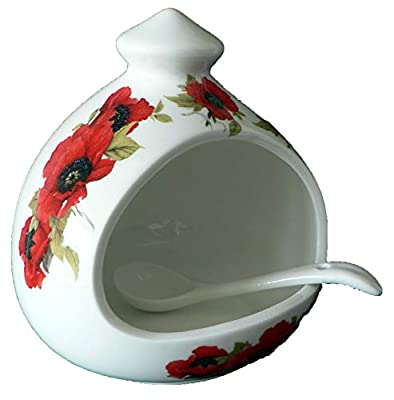 crackinchina Poppy salt pig. Large porcelain salt pig with ceramic spoon decorated with lovely bright red poppies from CRACKINCHINA