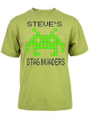 Space Invaders inspiré Cerf Chemise Motif. £ 8.00, personnalisé Stag T-Shirt. - Marron - XS/ 91 cm
