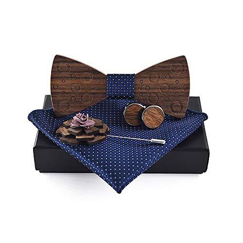 Uteruik Holz-Fliege Manschettenknöpfe Brosche quadratisch Schal Kreis bedruckte Fliege für Herren Hochzeitsanzug Zubehör mit Geschenkbox (#H)