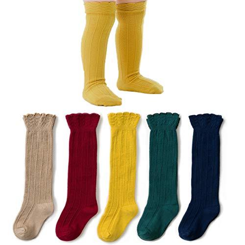 Meias até o joelho recém-nascidas infantis CozyWay Pacote com 5 meias longas de uniforme com babados, Rainbow 5pk, 6-12 Months